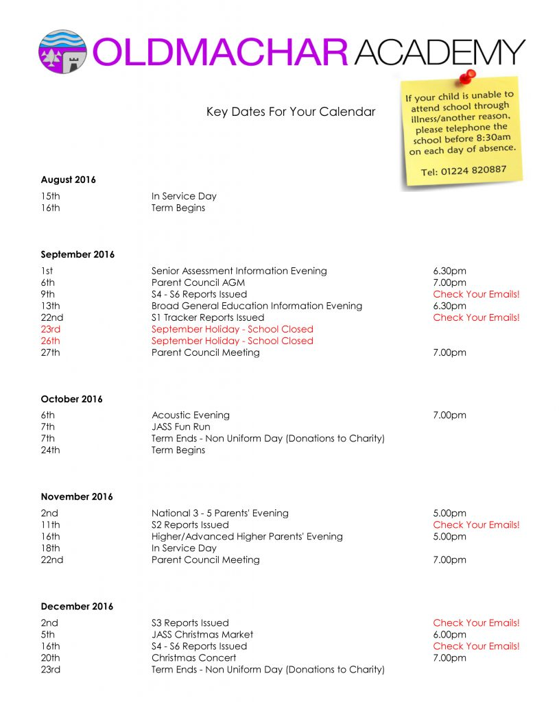Key dates 2016-17 a