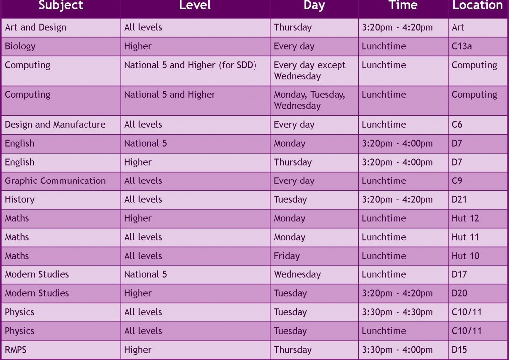 Study timetable for website psd