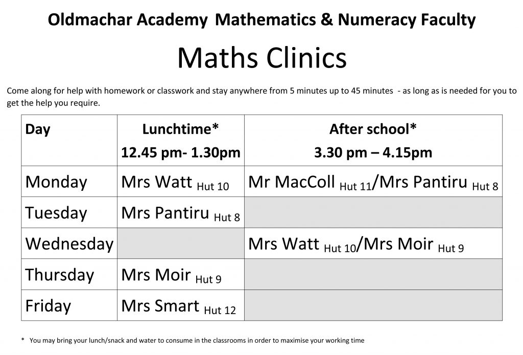 Maths clinic timetable